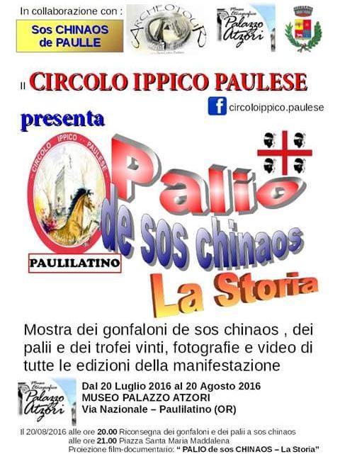 "IN MOSTRA PER UN MESE A PAULILATINO LA STORIA DEL "" PALIO DE SOS CHINAOS"""
